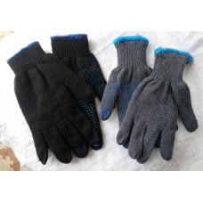 Перчатки х/б ПВХ двойные/точка/серые/черные